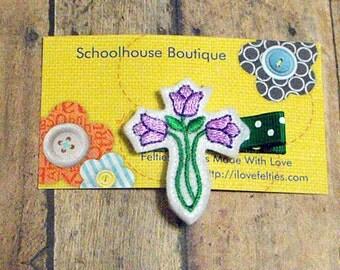 Purple Easter Lily Flower Felt Hair Clips, Easter Basket Filler, Feltie hair clip, Feltie, Felt Hair Clippie, Felt Hair Bow, Party favor