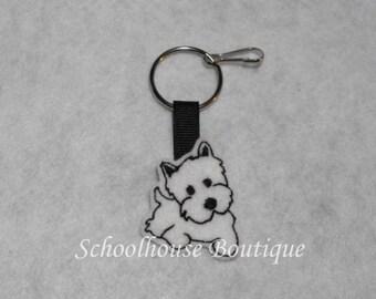 White Terrier Dog Felt Zipper Pull, Felt Keychain Fob, Felt Key Ring, Felt Key Fob, Purse Accessory, Luggage Tag