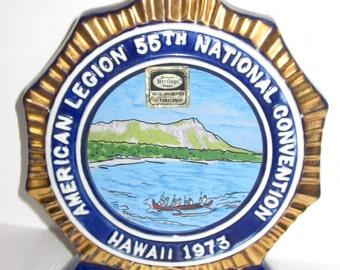 COMMEMORATIVE LIQUOR DECANTER-Ezra Brooks 1973 Cobalt Blue & 24 Kart Gold Hawaii American Legion Convention Heritage China Bottle