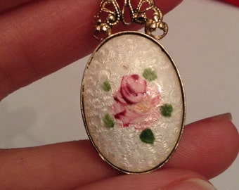 Necklace Pendant Guilloche Enamel Hand Painted Victorian Rose