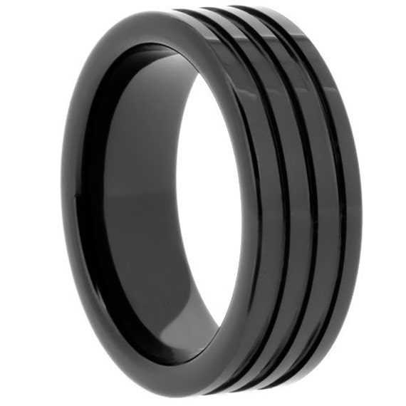 Mens Ring Mens Wedding Bands Unique Black Ceramic