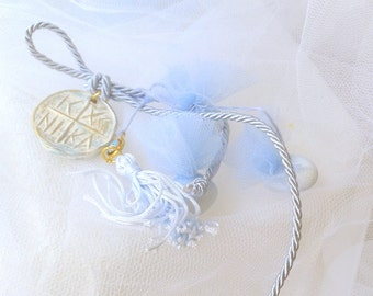 Orthodox Baptism bombonieres,Baptism favors,Christening favors,Greek bomboniera with koyfeta for boys ,greek baptism favors,made in greece