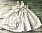 Baby Girl Dress, Seersucker Dress, Easter Dress, Holiday Dress, Toddler Dress, Bloomers, Bow Dress, Stripe Dress, Infant Dress