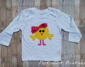 Girls Easter Chick Shirt or Onesie, Easter Shirt, Easter Chick Shirt or Bodysuit,  Girls Spring Shirt, Yellow Chick Shirt or Bodysuit