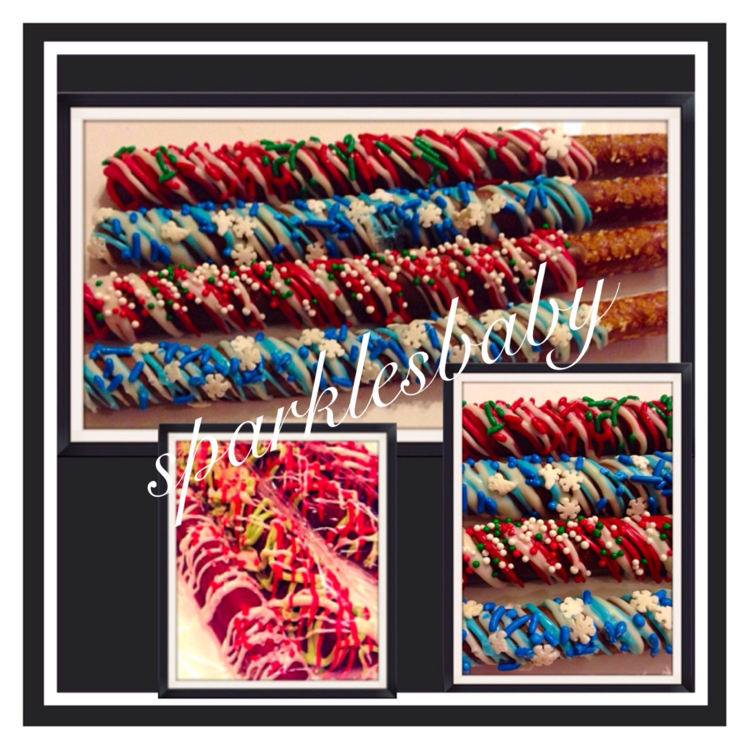 Christmas chocolate covered pretzels set of holiday