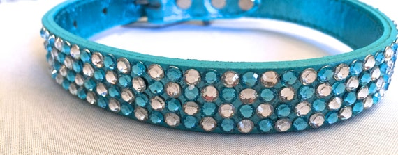 Rhinestone Dog Collar in Metallic Leather,  Medium and Large Sizes