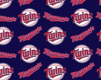 "15"" remnant Minnesota Twins fabric Major League Baseball MLB Teams 100% cotton fabric by the yard navy blue white red professional sports"