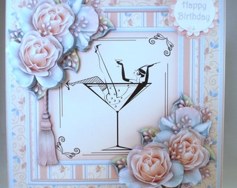 Decoupage Handmade Large Birthday Card,Champagne and Roses,21st,18th,Daughter Sister