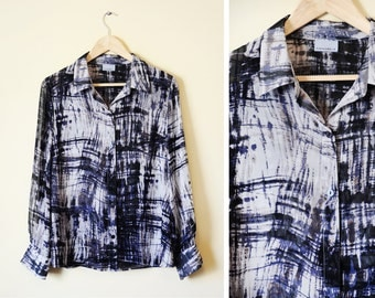 25% OFF - Vintage women's blue and grey patterned sheer blouse