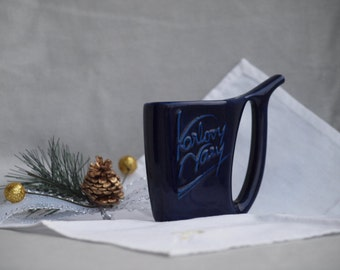 Vintage Karlovy Vary drinking cup- Collectible cobalt blue pitcher, sipping mug from Czech republic- travel  souvenir