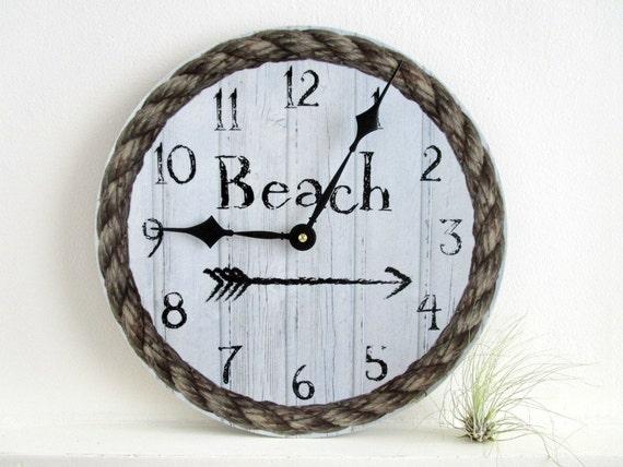 beach wall clock vinlyl lp record clock by goldendaysdesigns. Black Bedroom Furniture Sets. Home Design Ideas