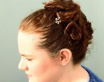 Gold Crystal Spiral Hair Pin, Bridal Pin Beaded With Swarovski Elements, Wedding Hair Pin, Bridesmaid Hair Accessory, Hair Spiral