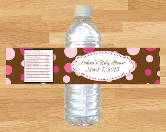 Custom Baby Girl Baby Shower Pink and Brown Dots Water Bottle labels