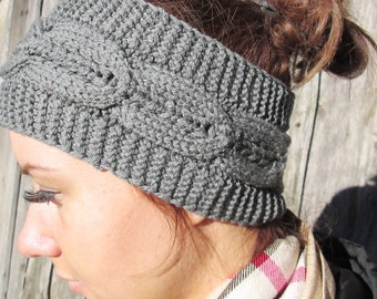 Ready to ship! women gray knitting Headband gray Headband Bun Ear warmer Head Wraplight dark gray Hat Girly Romantic, gray merino  headband