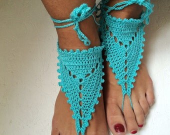 Barefoot Sandals, turquoise blue Crochet Sandals, Sexy Foot Jewelry, Yoga Shoes, Foot Thongs, Nude Shoes, Lace Sandles