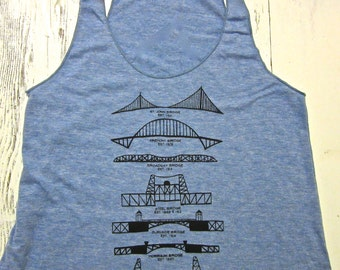 Portland bridges womens tank top. Portland tank. American apparel. Hand drawn.