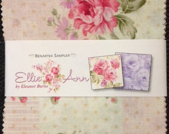 "Ellie Ann Charm Pack - (42) 5"" X 5"" Squares - Romantic Floral Cotton Quilt Fabric - Eleanor Burns for Benartex - (W2355)"