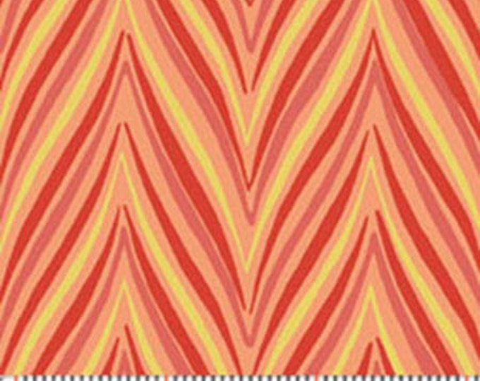 One Yard Dori - Mod Flame in Coral - Contemporary Cotton Quilt Fabrics - by Mitzi Powers for Benartex Fabrics - 1239-36 (W2368)