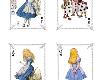 Alice in Wonderland Playing Cards  Digital Downloads