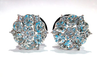 Silver and Rhinestone Classy Fancy Plugs - Available in 3/4 in, 7/8 in & 1 in.