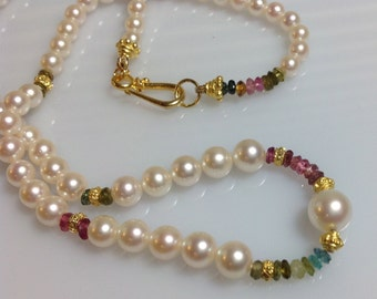 Exquisite  Dainty Cultured Pearl and Tourmaline 20K and 14K Gold Choker Necklace