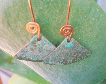 Triangle Light Green Patina Copper Earrings