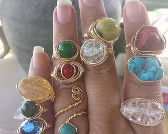 6 Custom wire wrapped rings