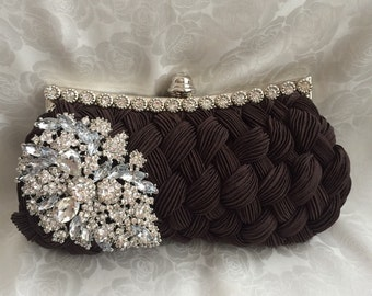 Bridal Clutch, Wedding Clutch, Rhinestone Brooch Clutch, Formal Party Clutch