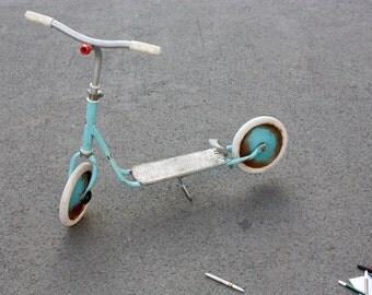 Children scooter, kids toy vintage, metal, nostalgic Germany 60s 70s, decoration, light blue white, retro
