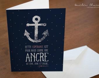 Anchor - French Christian Wish card - Bible verse