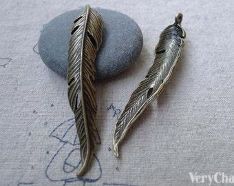 10 pcs of Antique Bronze Long Leaf Charms Pendants 11x62mm A7769