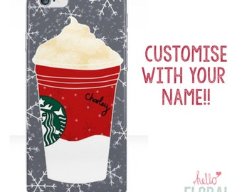 Personalised Starbucks Christmas iPhone 4/4s 5 5c 5s 6 Samsung Galaxy S2 S3 S4 s5 Ace iPod Touch 4th 5th hard case