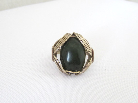 vintage made sterling silver jade ring size 6 5