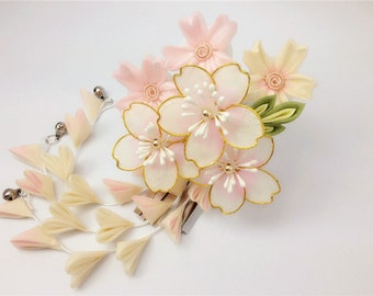Japanese style flower hair stick,pink sakura hair sitck,hair flower,wedding hair accessories,gift for women