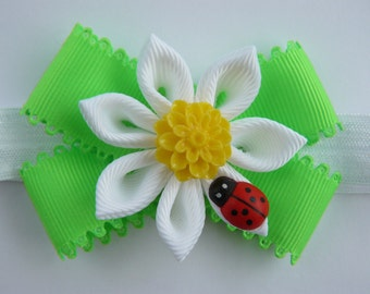 Handmade Baby toddler girl stretchy elastic headband hair band- Daisy Ladybug- Kanzashi flower