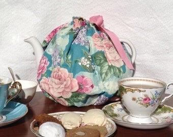 Reversible handmade tea cozy customized, shower favor, tea party for teapot