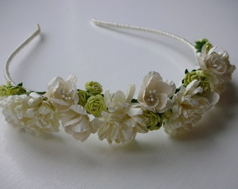 Ivory Flower Headband - Mulberry Paper Flower Headpiece