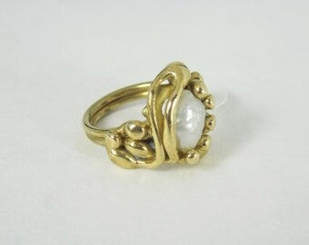 Handmade Freshwater Pearl Ring in Bronze by David Blonski     (a one of a kind setting)   SBR-Pearl-03