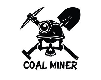 Personalized Coal Miner Decal - Proud to be a Coal Miner Sticker - Custom Coal Miner Skull Sticker