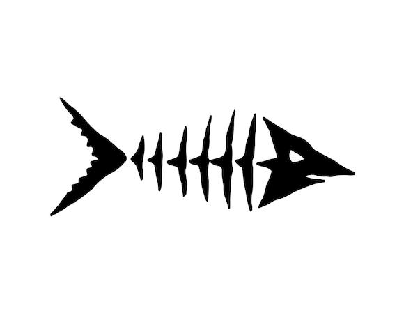 Fish skeleton decal fishing decal outdoorsman fish sticker for Fish skeleton decal