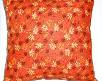 Fall leaves & acorn pillow,  Fallpattern  pillow, Orange fall print pillow Clearance Sale