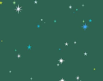 Natural History Lizzy House- Stars in Green, 1/2 Yard