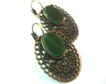 Stained Glass Vintage Style Earrings - Victorian Style Jewelry