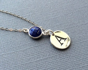 Lapis Sterling Necklace, Lapis Delicate Necklace, Bridesmaids Jewlery