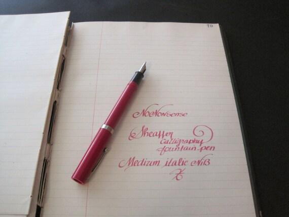 Red Sheaffer Nononsense Calligraphy Fountain Pen Italic