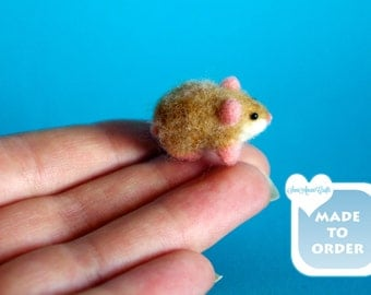 OOAK needle felted Hamster Lemming Guinea pig baby doll house miniature by SaniAmani