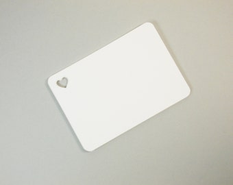 "White Flat Blank Note Cards with Heart, Journal Cards, Gift Tags, 2.5"" x 3.5"" Set of 25"