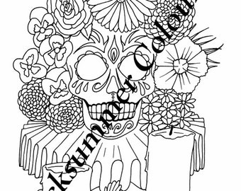 Downloadable Colouring Page - Sugar Skull Day of the Dead
