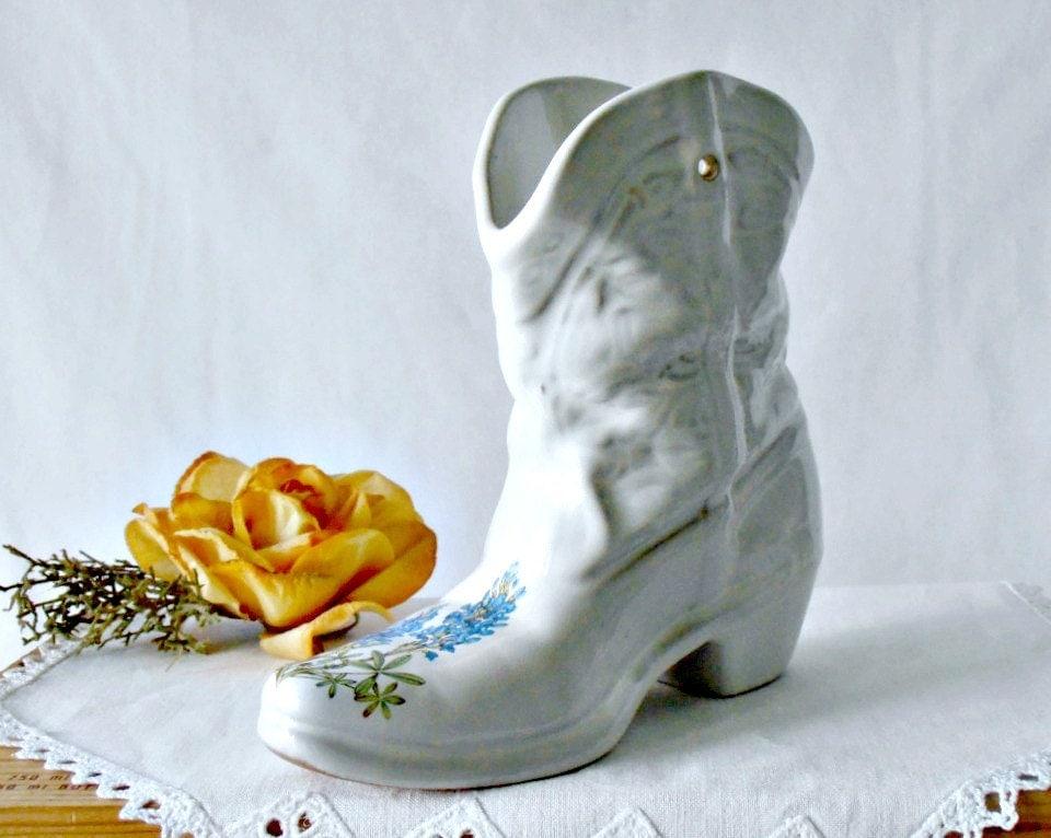 Le Gourmand Butcher Block Table Mid Century Frankoma Boot Planter Cowboy Boot Vase Flower