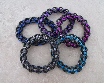 Black Rubber Chainmaille Bracelet